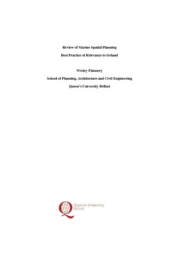 QUB Report: Review of Marine Spatial Planning Best Practice