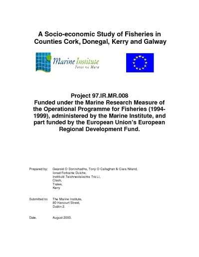 Marine resource series a socio economic study of fisheries in counties cork donegal kerry and galway fandeluxe Images