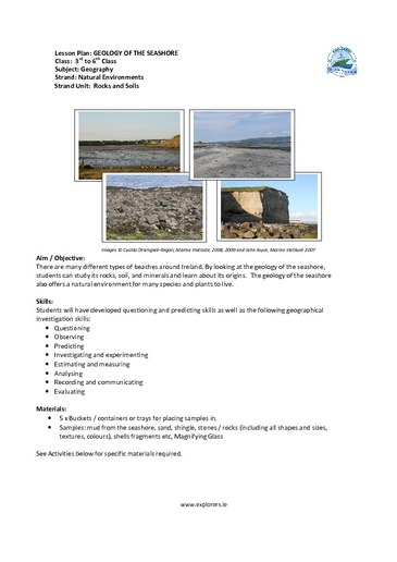 Lesson Plan: GEOLOGY OF THE SEASHORE Class: 3rd to 6th Class